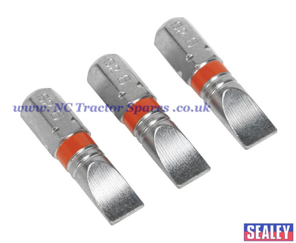 Power Tool Bits Slotted 6mm Colour Coded S2 25mm 3pc